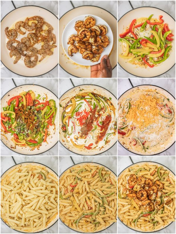 the process shot of how to make jerk shrimp pasta.